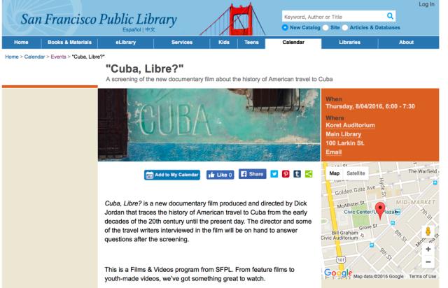 Cuba Libre at SFPL