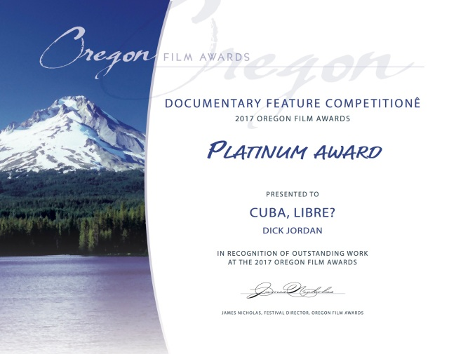 Cuba Libre Oregon Film Awards Certificate