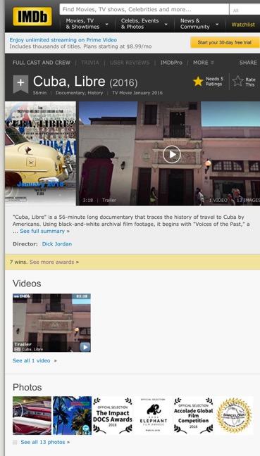 IMDb for Cuba Libre